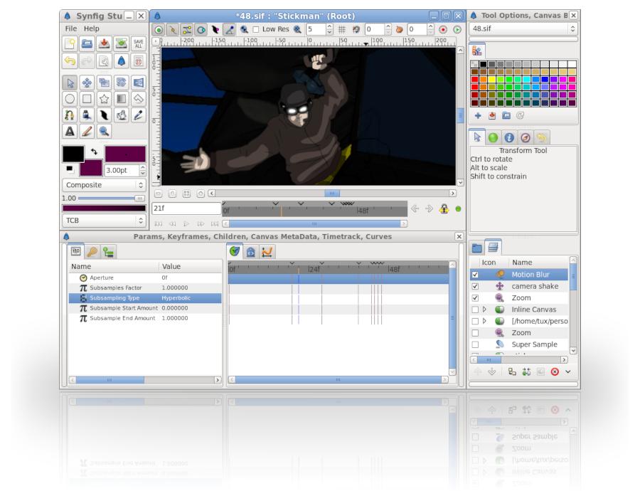 Logiciel gratuit et Open Source d'animation vectorielle 2D, Synfig Studio