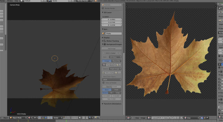 Feuille 3D Blender