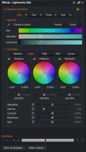 Le nouvel outil de correction colorimétrique de Lightworks V12