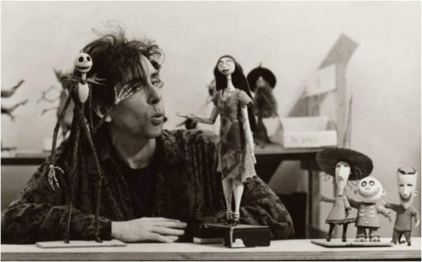 """Tim Burton pendant la réalisation de """"L'Etrange Noêl de Mr Jack"""""""