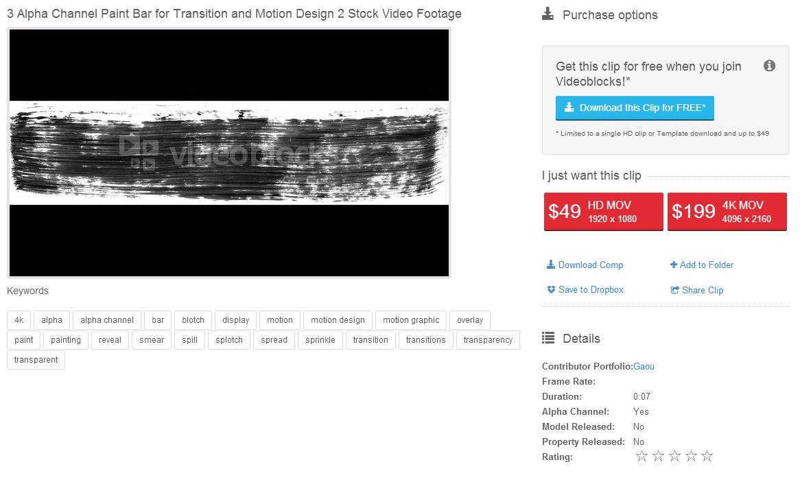 Sur VideoBlock, 3 de mes animations sont vendues 49$ en HD, et 199$ en 4K !!!